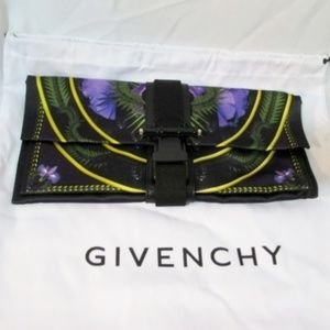 NEW GIVENCHY BLACK CLUTCH PANSY Bag Purse